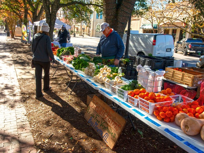 Shoppers check out the goods at the Palafox Market on Saturday, Dec. 26, 2020.