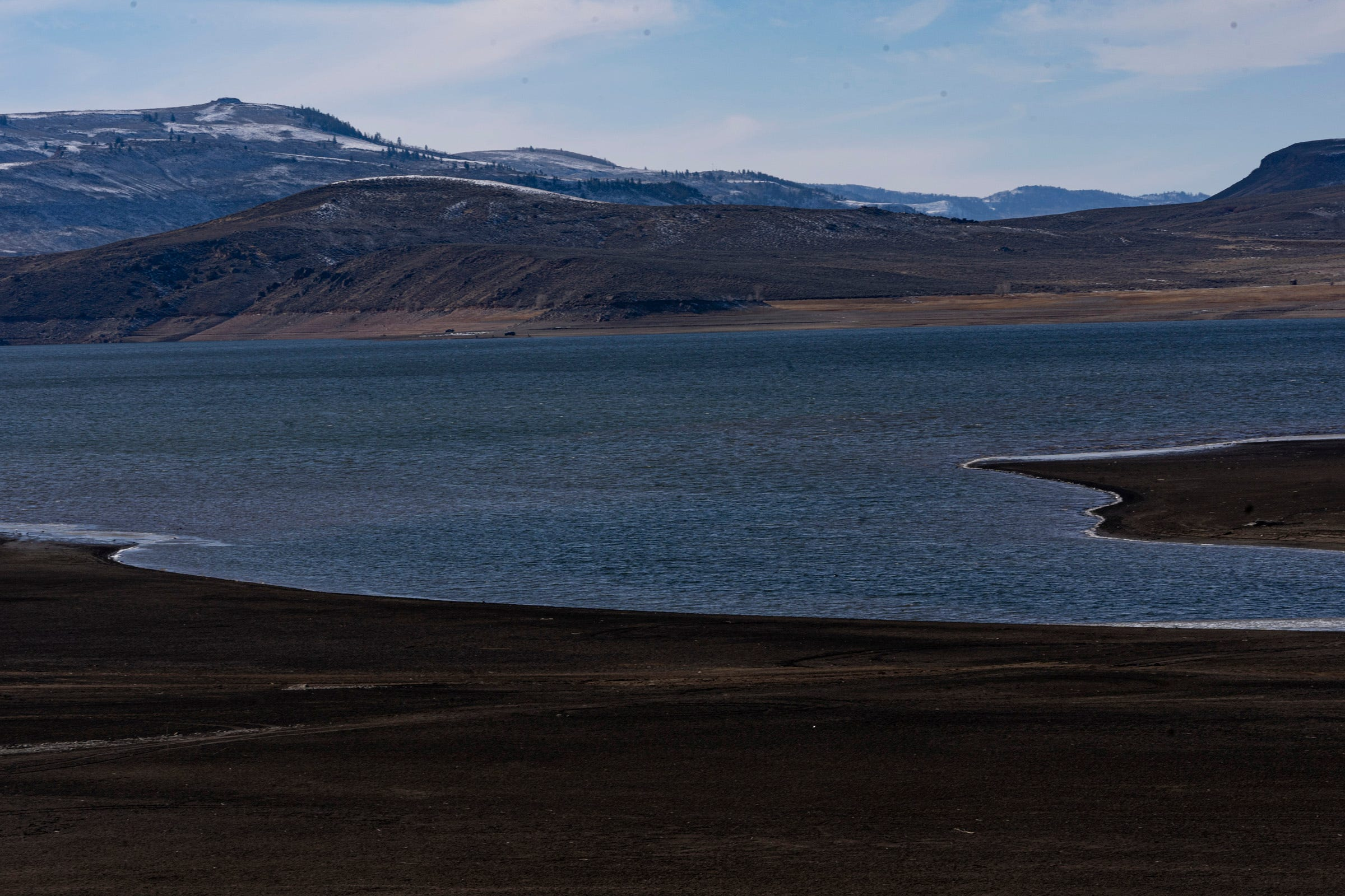 Blue Mesa Reservoir holds water from the Gunnison River, a tributary of the Colorado River, and is now 48% full.