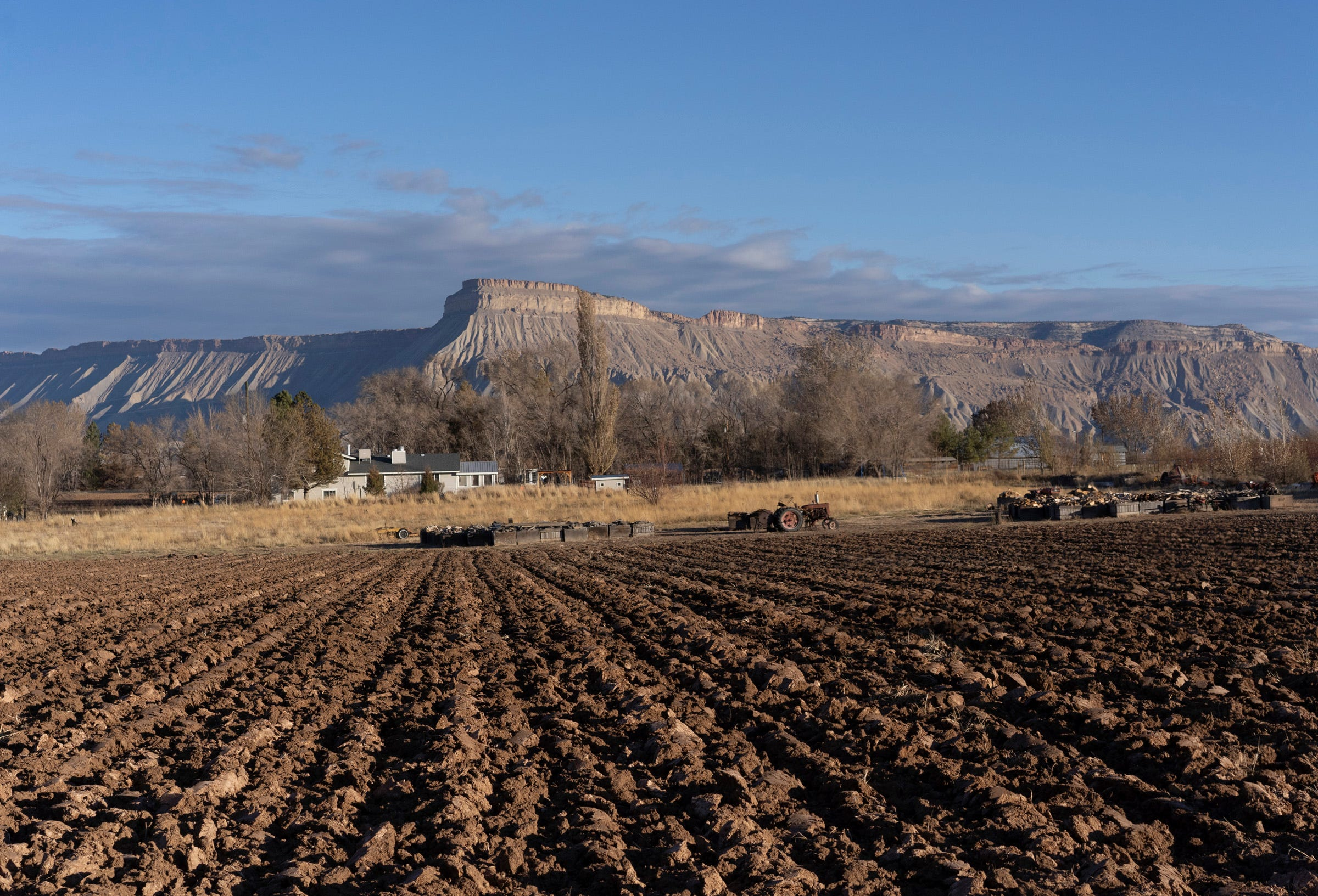 Farms rely on Colorado River water in Orchard Mesa Irrigation District in Palisade, Colorado.