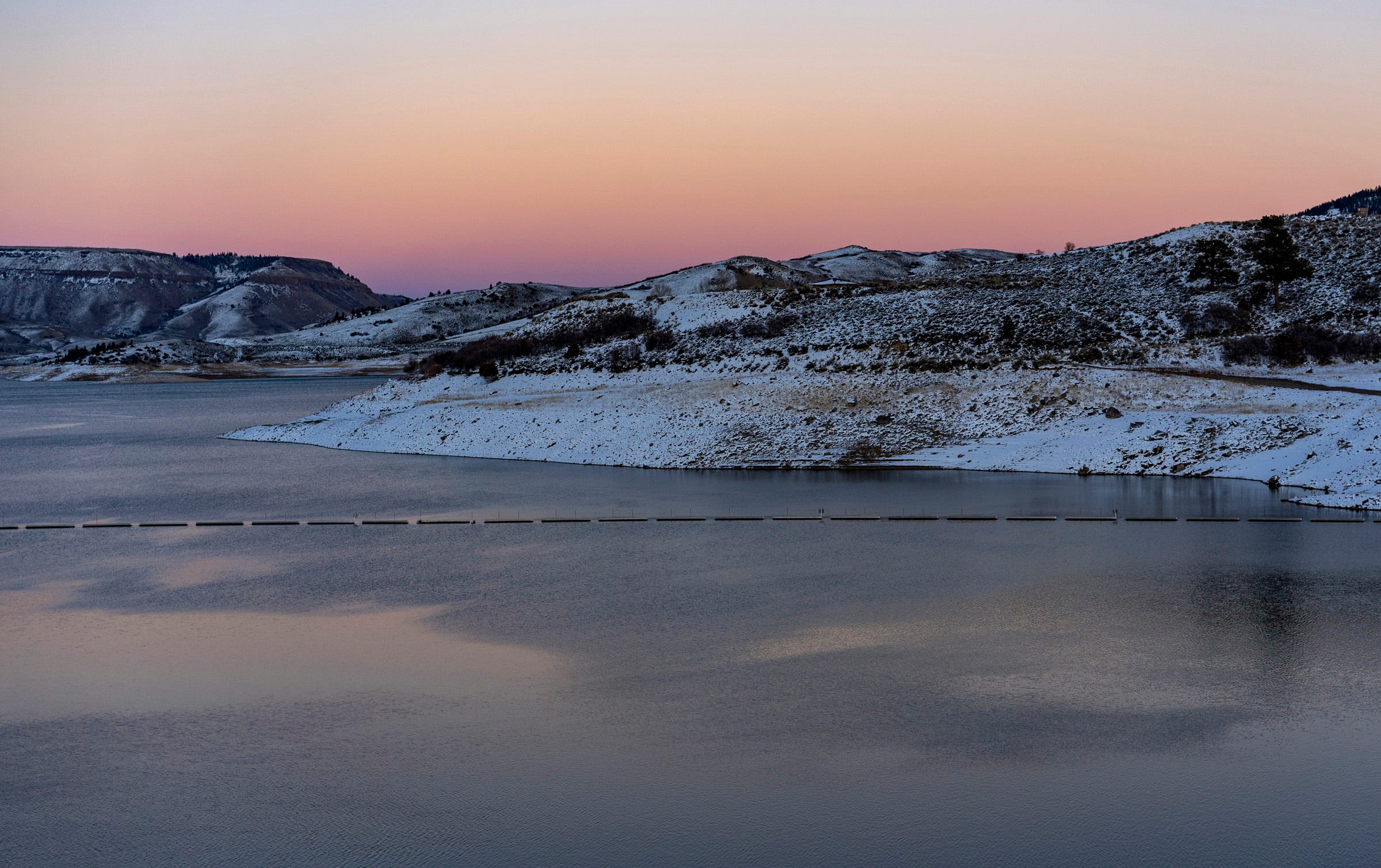 Blue Mesa Reservoir holds water from the Gunnison River, a tributary of the Colorado River. The reservoir has declined to 48% of its full capacity.