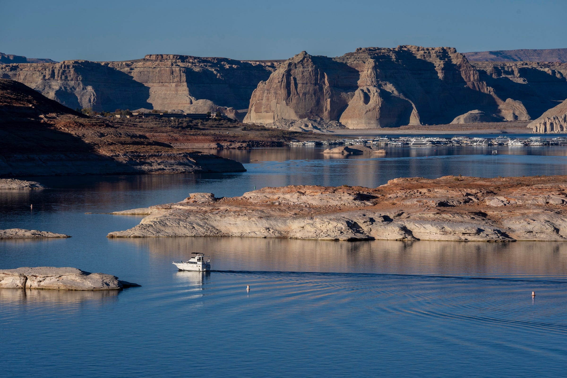 Lake Powell, which stretches across the Arizona-Utah border, stands at 44% of full capacity in November 2020. The reservoir has declined as the flow of the Colorado River has decreased.
