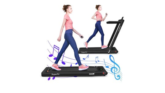 This folding treadmill has a spot for your phone, so you can workout to your favorite tunes.