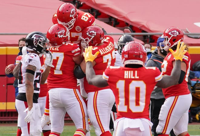 Chiefs tight end Travis Kelce (87) celebrates after his four-yard touchdown reception from Patrick Mahome in Sunday's 17-14 victory over the Atlanta Falcons. It was his 11th TD reception  of the season, tying the franchise record set by Tony Gonzalez.