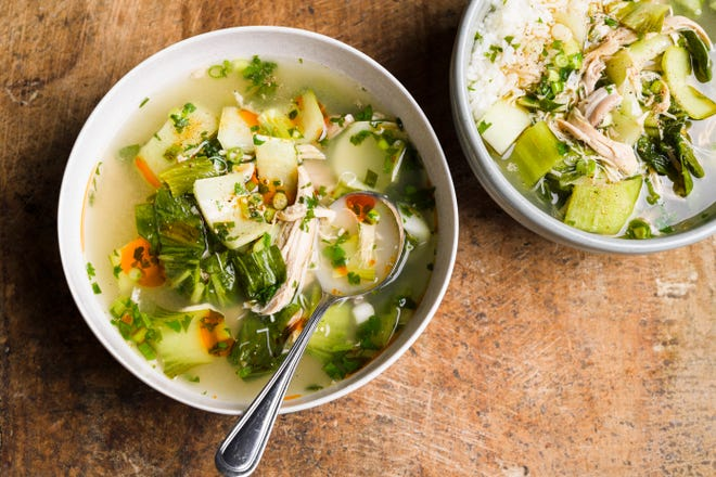 """This ginger and bok choy chicken soup is from Christopher Kimball's new book, """"Milk Street Fast and Slow: Instant Pot Cooking at the Speed You Need."""""""