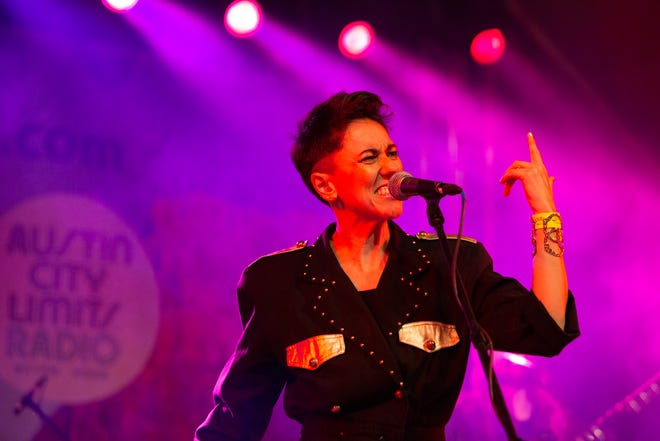 """Gina Chavez performs at an Austin City Limits Radios Blues on the Green set at Stubb's BBQ. Chavez was nominated for a Latin Grammy for her 2020 release """"La Que Manda."""""""
