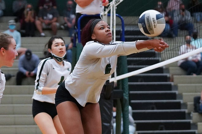 Connally star hitter Michera Moffett earned the District 18-5A's most valuable player award. The 5-foot-9 senior, who is committed to play at Lincoln Memorial University in Tennessee, fired 212 kills with a kill rate of 44%.