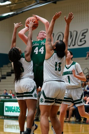 Shelby Hayes, shooting over a Connally double team last season, had 19 points, 10 rebounds and three blocked shots in just over 22 minutes as top-ranked Cedar Park beat East View last week.