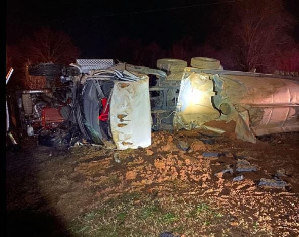 This tanker overturned along U.S. Highway 441 in Banks County on Dec. 25 and spilled about 4,000 gallons of gasoline, forcing the evacuation of nearby homes. [Banks County Fire and Emergency Services photo]