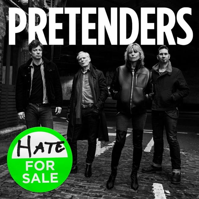 """The Pretenders' 11th studio album, released in 2020, is titled  """"Hate for Sale."""" The cover features, from left, James Walbourne, Martin Chambers, Chrissie Hynde and Nick Wilkinson."""
