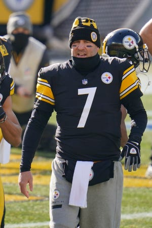 Pittsburgh Steelers quarterback Ben Roethlisberger (7) warms up before an NFL football game against the Indianapolis Colts, Sunday, Dec. 27, 2020, in Pittsburgh. (AP Photo/Gene J. Puskar)
