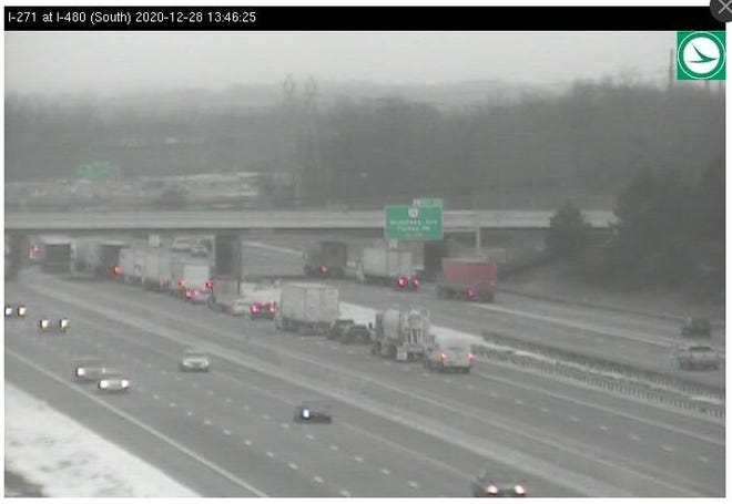 Interstate 271 northbound at the Summit County line was closed Monday afternoon due to a crash in Oakwood.