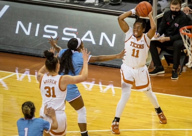 Texas guard Joanne Allen-Taylor (11) looks to pass against Louisiana Tech at the Erwin Center on Dec. 2, 2020.