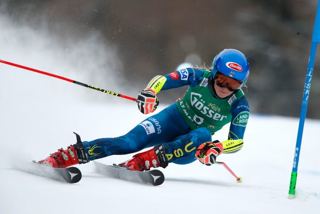 Mikaela Shiffrin speeds down the course during a World Cup giant slalom race in Austria on Monday.