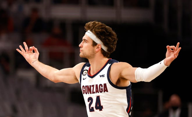 Gonzaga forward Corey Kispert reacts after making a 3-pointer against Virginia on Saturday.
