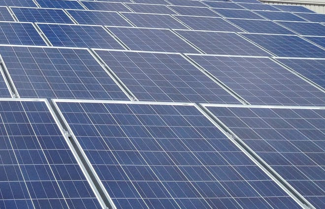 A solar panel array at the City of Columbus Fleet Management Facility, 4211 Groves Road