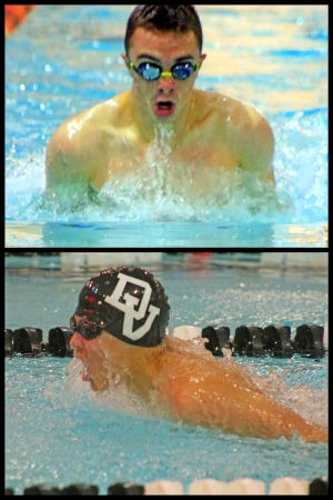 Lucas Santiago (top) and Evan Dong (bottom) are two key components in the Delaware Valley swim team arsenal for the upcoming season. Both the boys and girls teams are returning in strength to defend their District 2 AAA titles.
