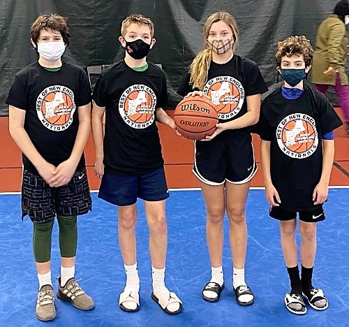 Brady Sullivan, Leo Berisin, Ariyah Bennett and Henry Zgrodnik captured the junior high school division championship at this past weekend's New Hampshire Spartans 3-on-3 basketball camp at The Sports Barn in Hampton. The two-day, eight-hour camp, which had more than 50 boys and girls in three divisions - elementary, middle school, high school -  focused on skills, drills and fundamentals. More information on the Spartans can be found at www.nhspartans.com.