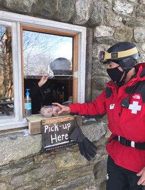 Red Apple Farm recently opened ski-thru food service on the slopes of Wachusett Mountain in Princeton.
