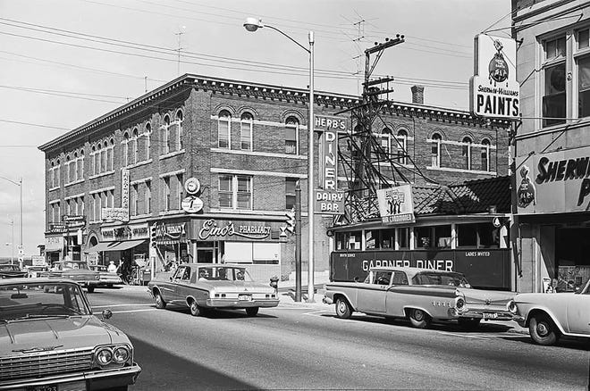 The Maki Block and the former Herb's Diner in Gardner as seen in the mid-1960s. [Courtesy photo]