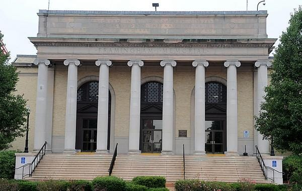 Memorial Hall in Framingham has more limited access in a nod to Gov. Charlie Baker's new coronavirus restrictions.