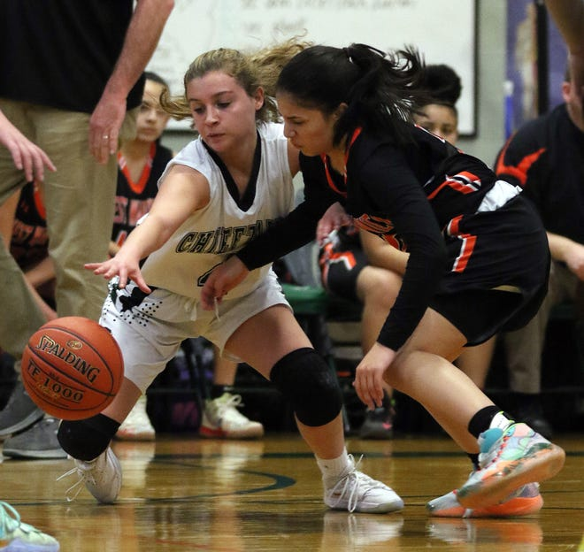 Liana Nerbonne, left, of Ponaganset and Kayla Saddler of West Warwick battle for a loose ball in a game last January. West Warwick is among several school districts that won't start their winter sports season on Jan. 4.