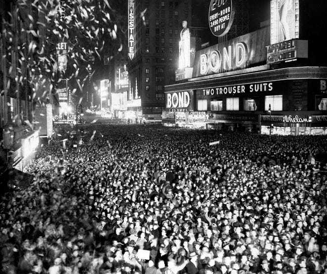 Three quarters of a million people crowd into Times Square, in New York on Dec. 31, 1949, to welcome in the New Year.