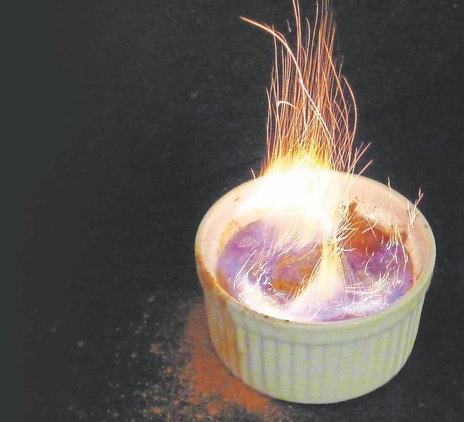 Orange Eggnog Creme Brulee Flambe.
