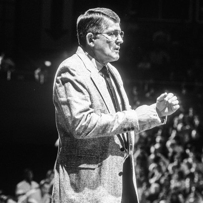 Southern Illinois men's basketball coach Rich Herrin, shown in an undated photo, died on Christmas day. He was 87.