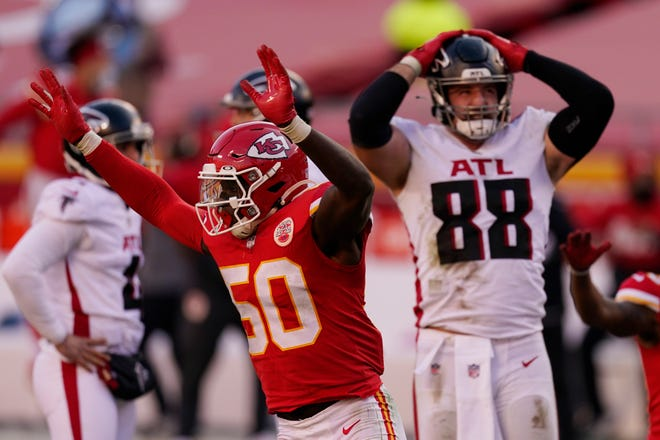 Kansas City Chiefs linebacker Willie Gay (50) reacts next to Atlanta Falcons' Luke Stocker (88) after Falcons place kicker Younghoe Koo missed a 39-yard field goal Sunday, Dec. 27, 2020, in Kansas City. The Chiefs defeated the Falcons 17-14.