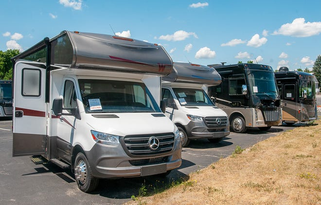 Recreational vehicles on display at Flagg RV in West Boylston earlier this year. More Americans are turning to RVs as a safe way of vacationing and the RV industry expects 2021 to be a record-breaking year.