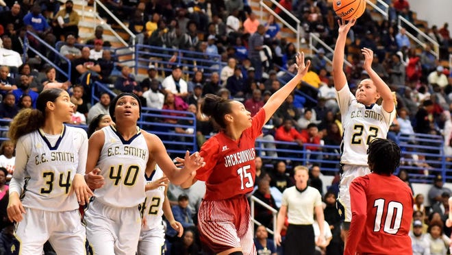 """E.E. Smith's Kendall Macauley (22) said her team was """"still a champion,"""" despite not being able to complete their season because of the COVID-19 pandemic. The Golden Bulls were declared co-state champions in their classification."""