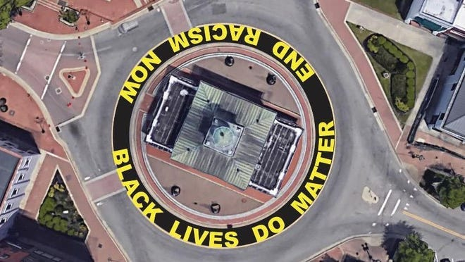 Paintings with the words, 'Black Lives Do Matter' and 'End Racism Now' were completed around the Market House traffic circle in June. The project was city-approved and spearheaded by the Cool Spring Downtown District.