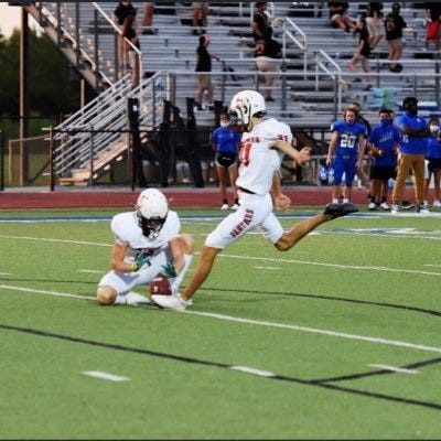 Maypearl senior Rylan Winingham kicks an extra point during an away game this season. Winingham was voted as the District 7-3A (I) Kicker of the Year by the coaches in the district.