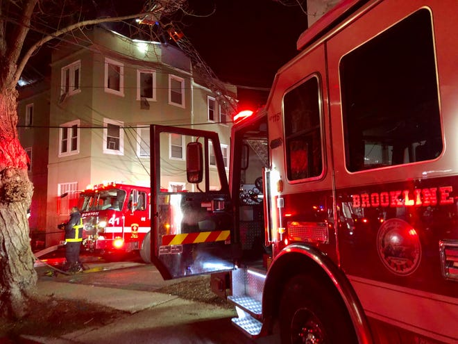 Boston and Brookline firefighters responded to a two-alarm blaze at 16 Hamilton Road in Packard's Corner. The fire displaced about 30 residents.