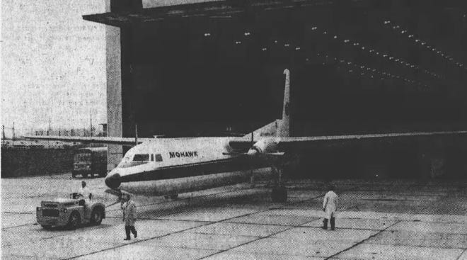 A Mohawk FH-227 aircraft – one of 17 the airline was trying to sell.