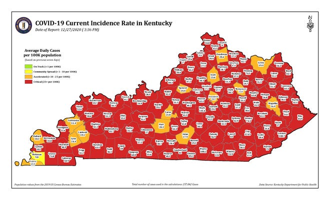 The COVID-19 current incidence rate map for Kentucky as of Sunday, Dec. 27.