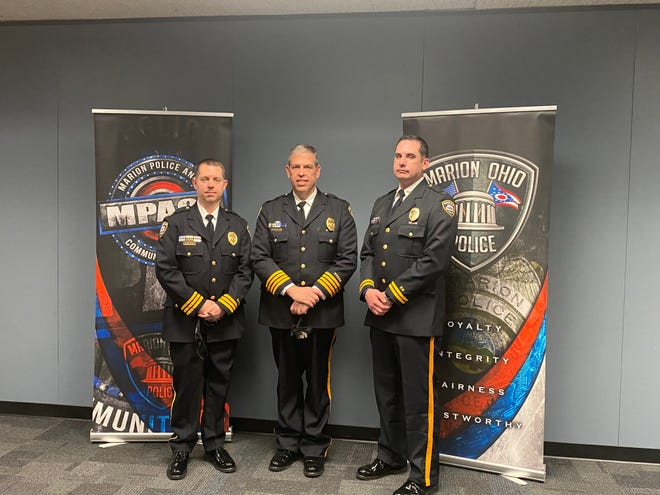 From left to right: Major Chris Adkins, Chief Jay McDonald and Lt. Richard Wheeler of the Marion Police Department. The three officers were promoted during a short ceremony Monday, Dec. 28, 2020 inside City Hall.
