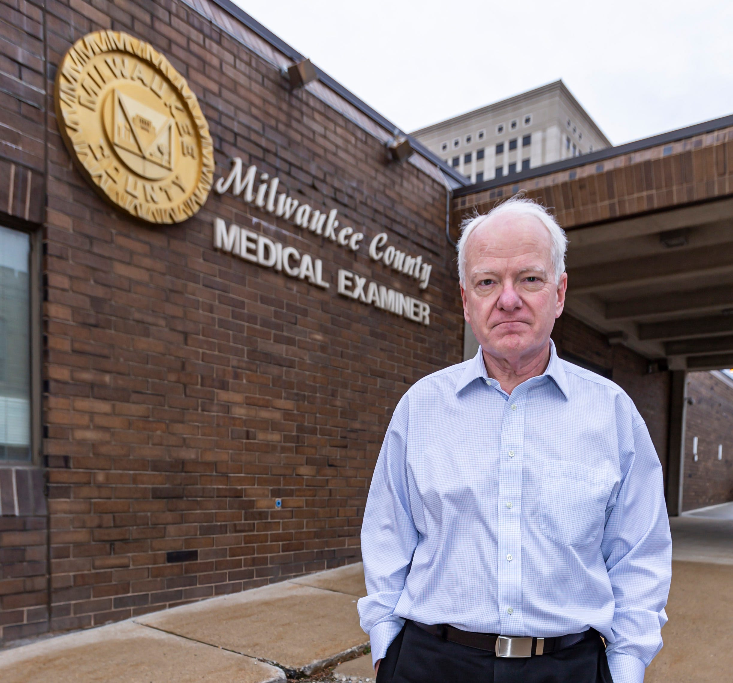 Dr. Brian Peterson, chief medical examiner for Milwaukee County, is pictured outside the Milwaukee County Medical Examiner's Office in 2020.