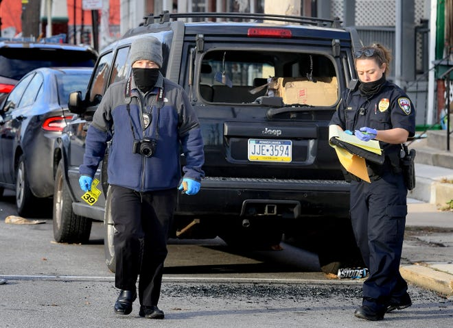 Police investigate a shooting incident in the 600 block of South Pershing Avenue in York City Monday, Dec. 28, 2020. Bill Kalina photo