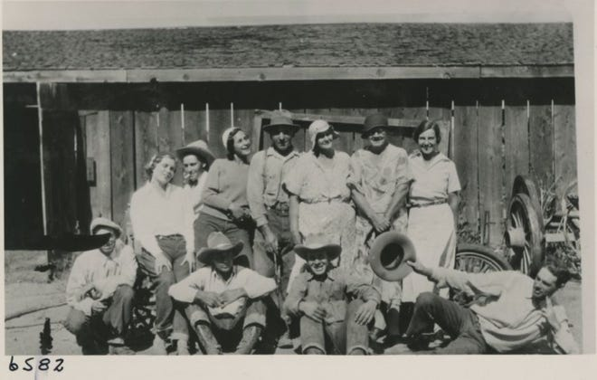 Photograph of Matley Ranch picturing Sarah Olds and one of her sons. Pictured from left, Ruth Bixby Matley, Walt Stevenson, Isabell Matley Murphy, Mr. and Mrs. John Matley, Sarah E. Thompson Olds, unknown; seated, 'Maverick' Bachenberg, John Matley (son), Albert Olds (Sarah Olds' son), unknown; Washoe County, Nevada. October 1932