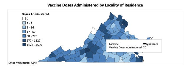 Vaccine doses administered by locality is updated daily online at the Virginia Department of Health. As of Dec. 27, 2020, 70 City of Waynesboro residents have taken their first dose of the COVID-19 vaccine.