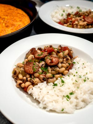 Hoppin' John with smoked sausage is a Southern tradition at New Year's.