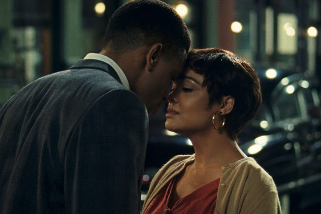 "Nnamdi Asomugha, left, and Tessa Thompson appear in a scene from ""Sylvie's Love."""