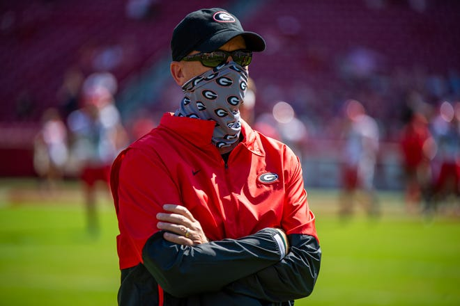 Georgia offensive coordinator Todd Monken at a game at Arkansas on Saturday, Sept. 26, 2020