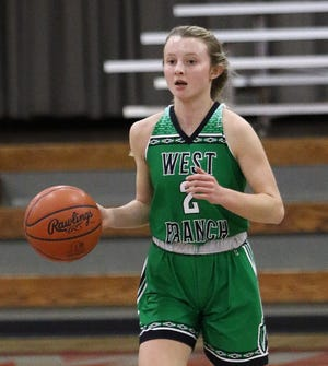 Emma Egli had 11 points and four steals for West Branch in its 43-39 win at Cardinal Mooney on Wednesday night.