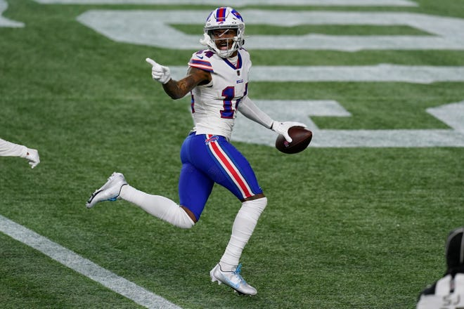 Buffalo Bills wide receiver Stefon Diggs crosses the goal line for a touchdown during Monday's game against the New England Patriots in Foxboro.