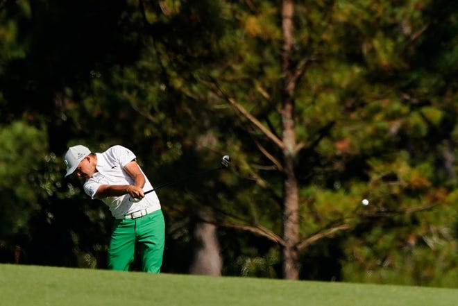 Rickie Fowler hits on the second fairway during the third round of the Masters golf tournament in Augusta, Ga., in November. When the year ended, Fowler was among those who had not secured a spot in the 2021 Masters.