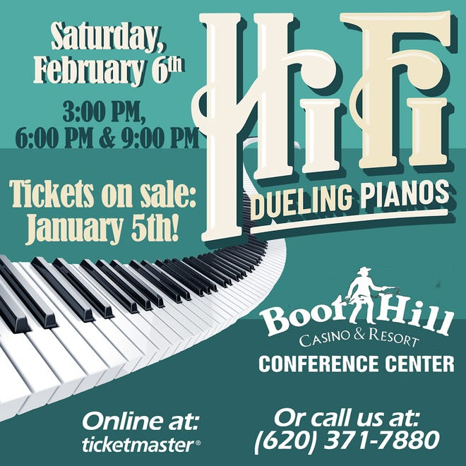 Dueling Pianos to return to Dodge City on Feb. 6, 2021 with tickets going on sale Jan. 5, 2021. For tickets contact the United Wireless Arena box office at 620-371-7880 or ticketmaster.com.