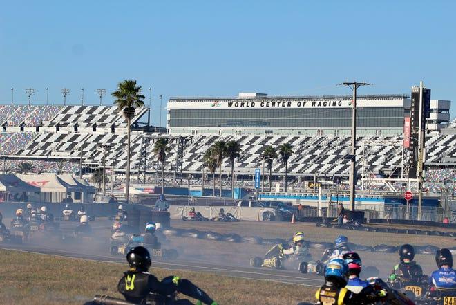Competitors zoom around Daytona International Speedway on Monday, Dec. 28, 2020, during action from Daytona KartWeek.