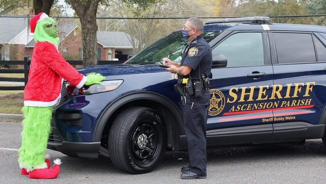 Lt. Richard Boe of the Ascension Parish Sheriff's Office questions the Grinch in a playful post ahead of Christmas.